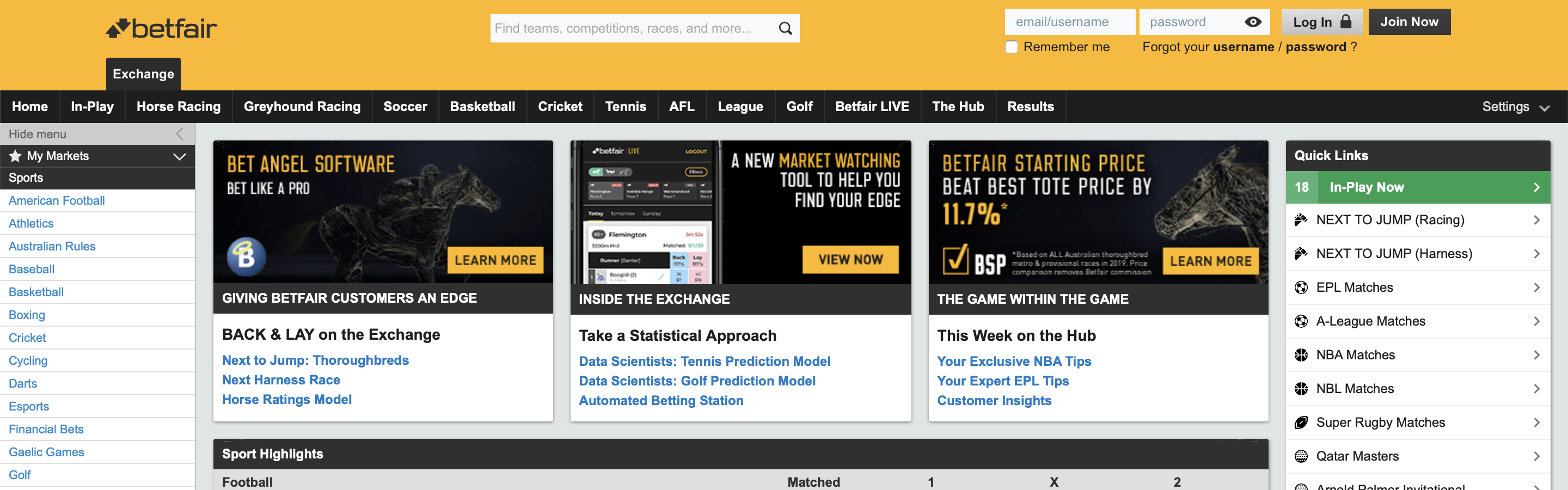 Betfair Homepage Interface