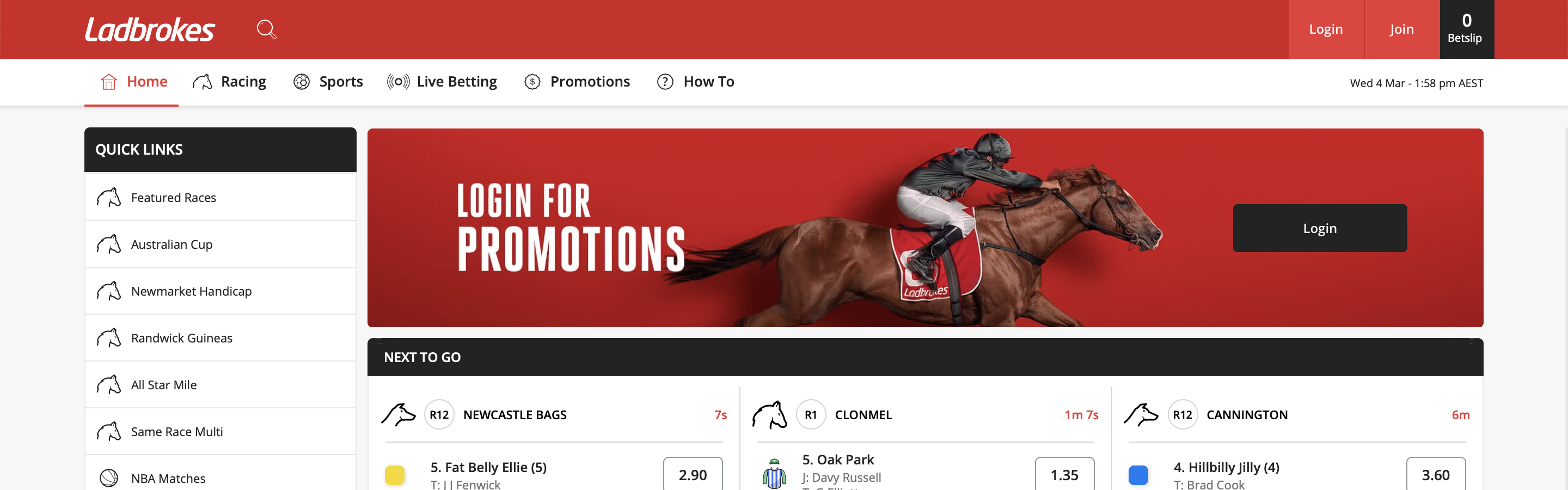Ladbrokes Homepage Interface