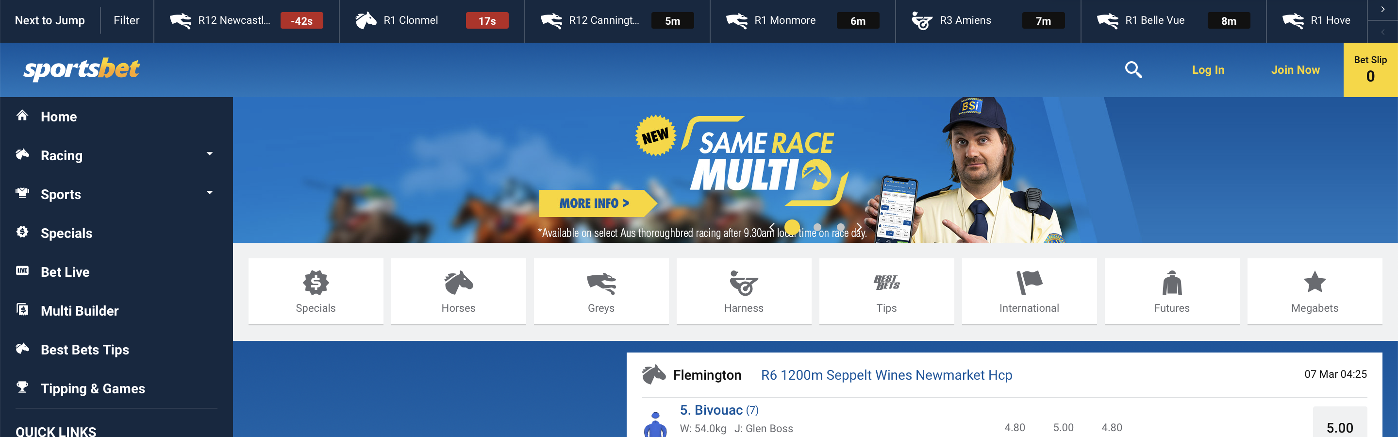 Sportsbet Homepage Interface