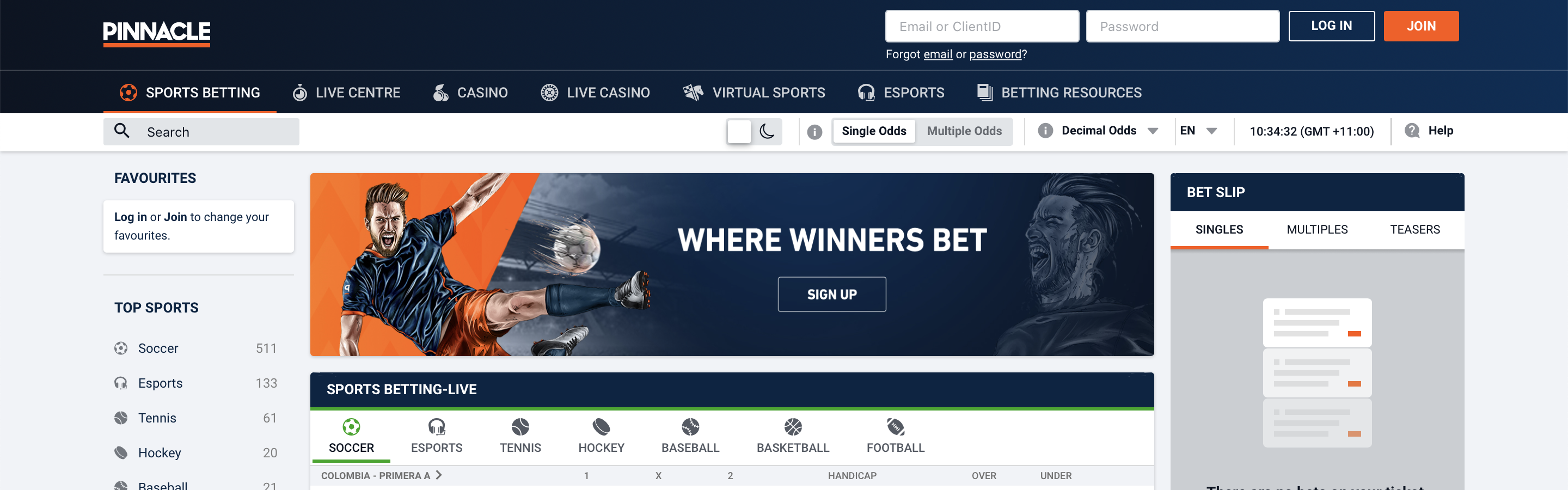 Pinnacle Betting Site Interface